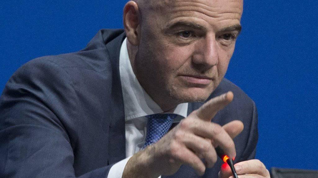 Der neue FIFA-Präsident Gianni Infantino freut sich auf die Testphase mit Video-Beweis