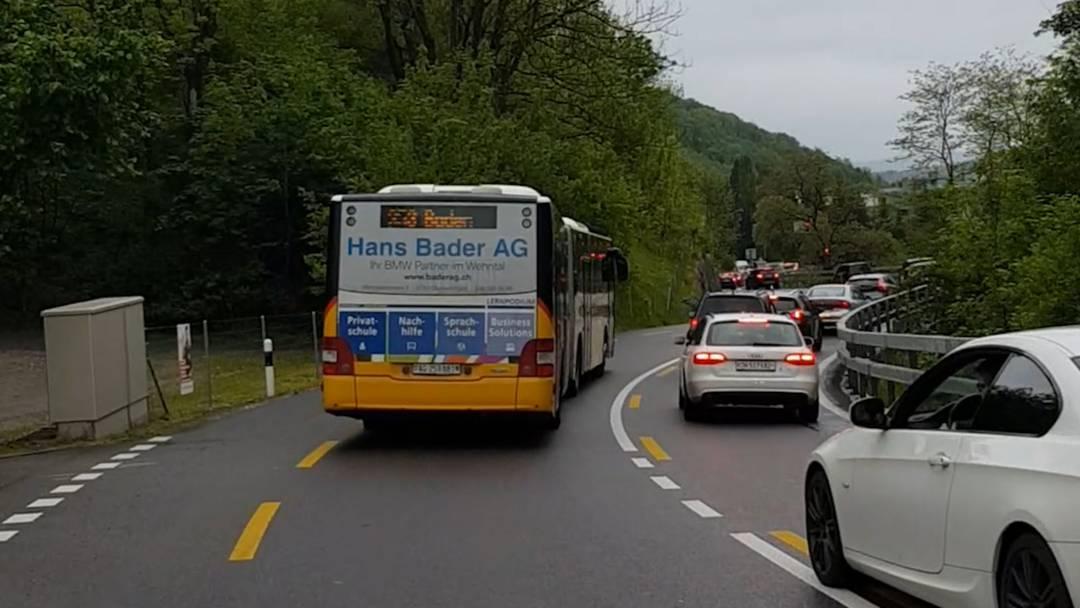 In der Praxis: die Bus-Überholspur zwischen Ehrendingen und Baden