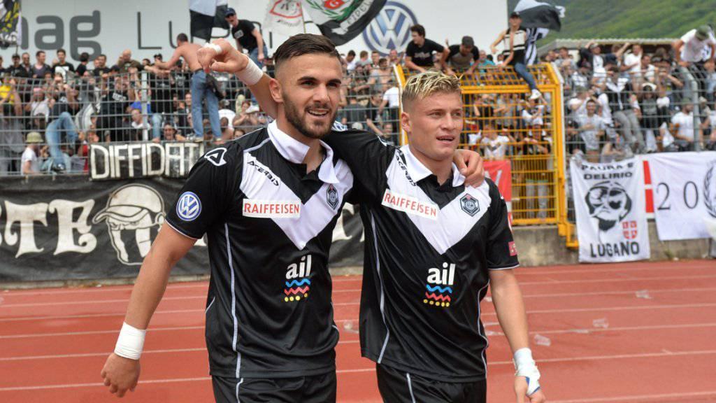 Luganos Torschützen gegen Basel: Ezgjan Alioski (rechts) und Armando Sadiku