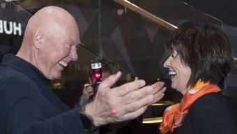 Bundesrätin Doris Leuthard (r.) mit Hublot-Präsident Jean-Claude Biver an der Eröffnung der Baselworld.