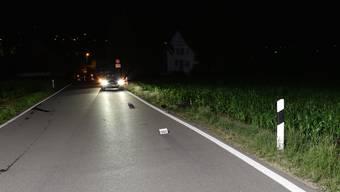 Unfallstelle: Arnistrasse in Hedingen. Der E-Bike-Fahrer landete im angrenzenden Maisfeld.