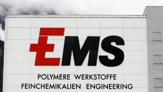 Logo der Ems-Chemie im Werk in Domat-Ems