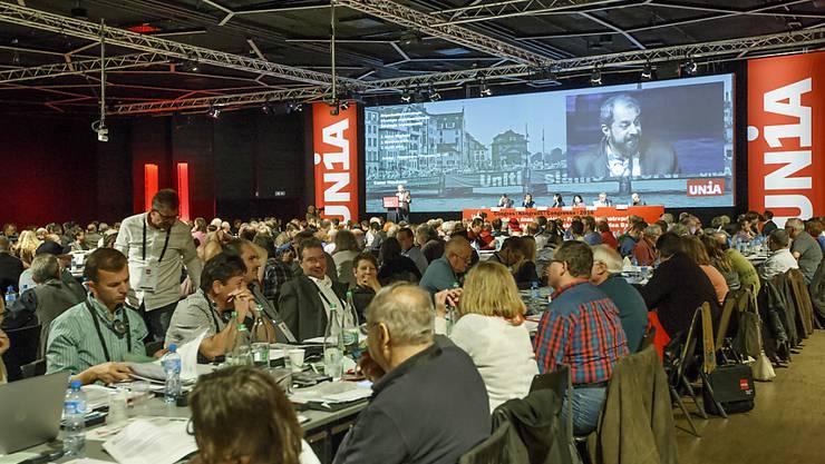 Drei Tage lang politisiert: Unia-Delegierte am Kongress im Palexpo-Center in Genf.