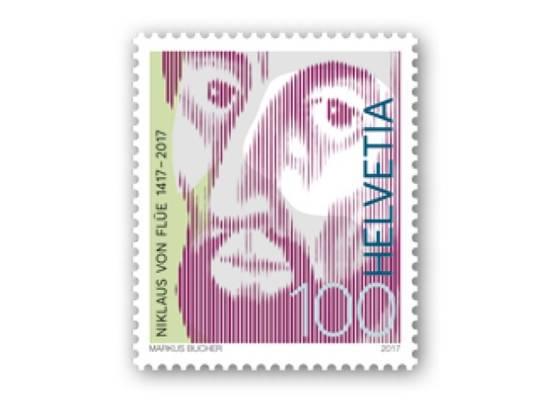 Die neue Sonderbriefmarke der Post  soll den Obwaldner Ratsherrn und Mystiker Niklaus von Flüe (1417-1487) mit weitsichtigem Blick zeigen. Die vierfarbige Marke ist ab dem 2. März an Poststellen erhältlich.