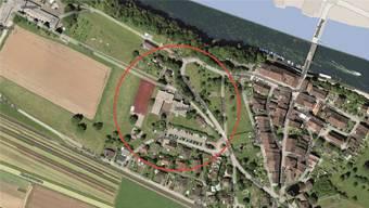Das Areal Blöleboden (rot umkreist) westlich der historischen Altstadt von Kaiserstuhl.