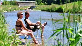 Der renaturierte Dünnern-Abschnitt zwischen Olten und Wangen b. O. lockt vor allem an sonnigen Tagen viele Besucher an.