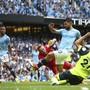 Manchester Citys Sergio Agüero erzielt sein drittes Tor gegen Huddersfield Town