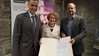 Drei Expo-Städte: Regierungspräsident Guy Morin, die Zürcher Stadtpräsidentin Corine Mauch und Sami Kanaan, Genfer Stadtrat (v.l.).