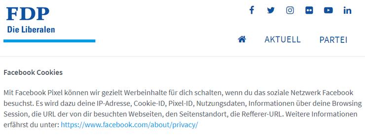 Die Datenschutz-Erklärung der FDP zu Facebook Pixel. Obwohl die Partei dieses Tool zurzeit nicht verwendet.