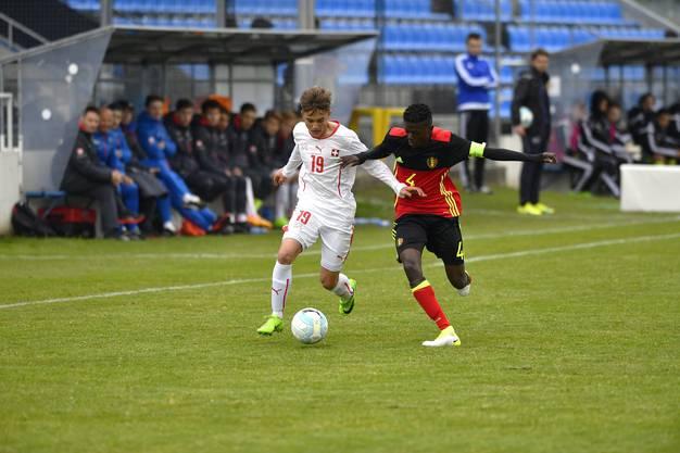 u-15 Länderspiel Belgien - Schweiz Im Bild: Cotter (19) Torschütze des 2:1 im Duell gegen Antonio C