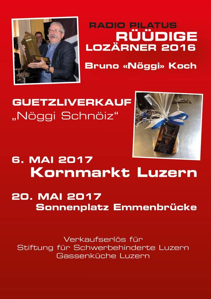 Der Rüüdige Lozärner Nöggi Koch verkauft Guetzli für einen guten Zweck
