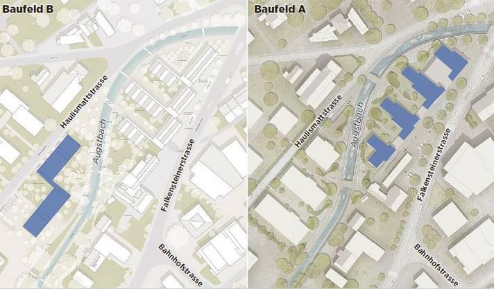 Zwei Siegerprojekte «verheiratet»: Die blau markierten Gebäude auf den Baufeldern A und B sollen als Grundlage für die weitere Planung der Sagi-Areals in Balsthal dienen.