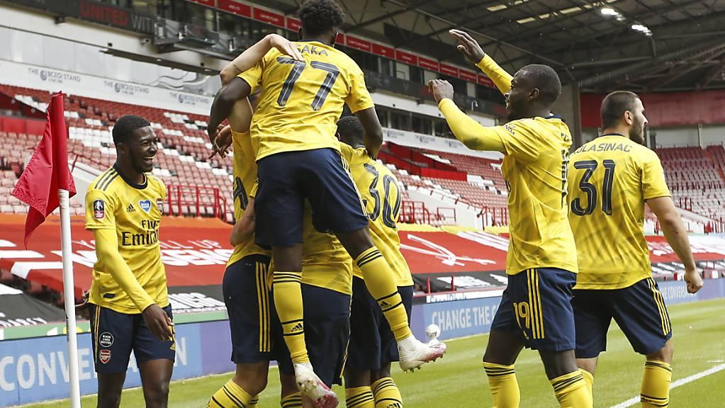 Die Freude von Arsenal nach dem späten 2:1