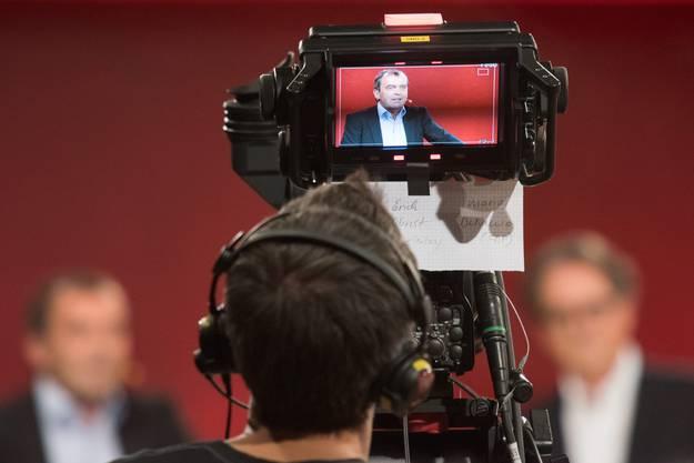 Jürg Caflisch beim Wahl-Talk in der ehemaligen Druckerei des «Badener Tagblatt».