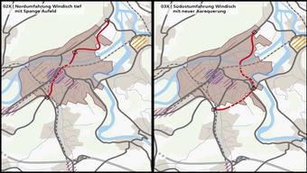 Für den Raum Brugg zur Diskussion stehen die Nordumfahrung Windisch (links) sowie die Südostumfahrung Windisch