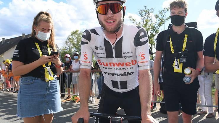 Marc Hirschi war sich trotz des recht deutlichen Vorsprungs erst kurz vor dem Ziel sicher, dass er die 12. Etappe der Tour de France gewinnen würde