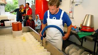 Jürg Stalder schätzt interessierte Gäste, hier beim Abfüllen des Käsebruchs in die Mutschli-Form.  bü Jürg Stalder, hier beim Abfüllen des Käsebruchs in die Mutschli-Form, schätzt interessierte Gäste.  bü Störkäser Jürg Stalder schätzt interessierte Gäste bei seiner Arbeit, hier beim Abfüllen des Käsebruchs in die Mutschli-Form.  bü Jürg Stalder schätzt interessierte Gäste, hier beim Abfüllen des Käsebruchs in die Mutschli-Form.  bü Jürg Stalder, hier beim Abfüllen des Käsebruchs in die Mutschli-Form, schätzt interessierte Gäste.  bü