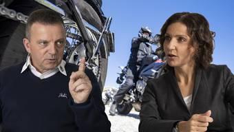 Walter Wobmann und Gabriela Suter streiten sich über Töfflärm.