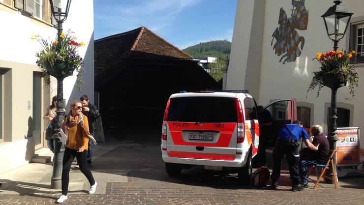 20. April 2016: Glimmbrand auf der Oltner Holzbrücke: Der Alarm ging um zirka 17.30 Uhr los.