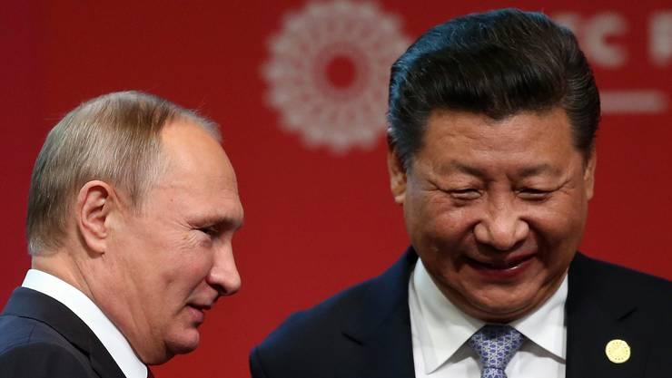 Die Wahl in den USA hat auch für ihre Staaten eine besondere Relevanz: Russlands Präsident Wladimir Putin (l) und Chinas Staatschef Xi Jinping.
