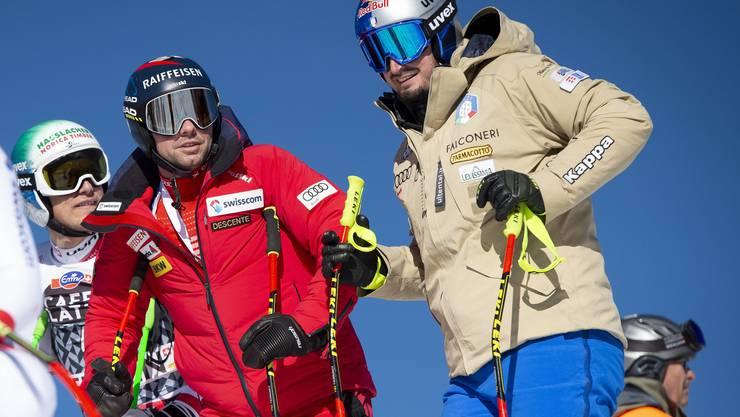 Beat Feuz und Dominik Paris (rechts) bei der Streckenbesichtigung am Lauberhorn.