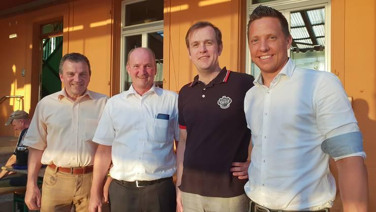 von links: Nationalrat Walter Wobmann, Kantonsrat Johannes Brons, Kantonsrat Matthias Borner, Nationalrat Christian Imark