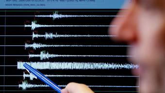 Ein Graph registriert die Erschütterung eines Erdbebens.