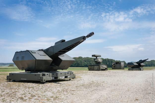 Die Kategorie «Grosskaliberwaffen» – beispielsweise Flugabwehrkanonen – machte 2017 rund 8% der Ausfuhren aus. Im Bild die Kanone des Skyshield-Flugabwehrsystems von Rheinmetall Air Defence.