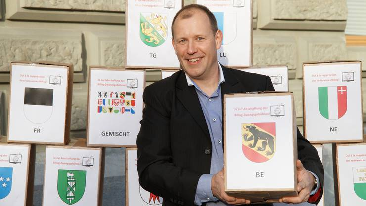 Christian Riesen, der Mann, der die «No Billag»-Unterschriften sammelte.