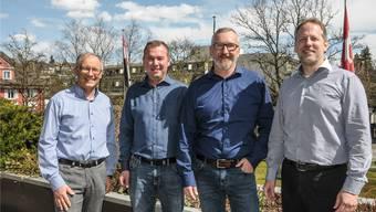 Geschäftsleitung: Urs Spillmann, Marcel Christen, Roland Konrad mit Geschäftsleiter Christoph Weibel, nicht im Bild dessen Stellvertreter Thomas Laube.