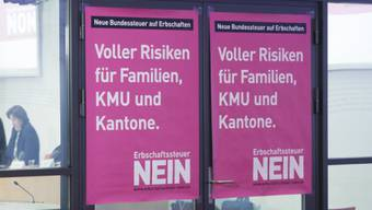 Plakate der Erbschaftssteuer-Gegner (Archivbild).