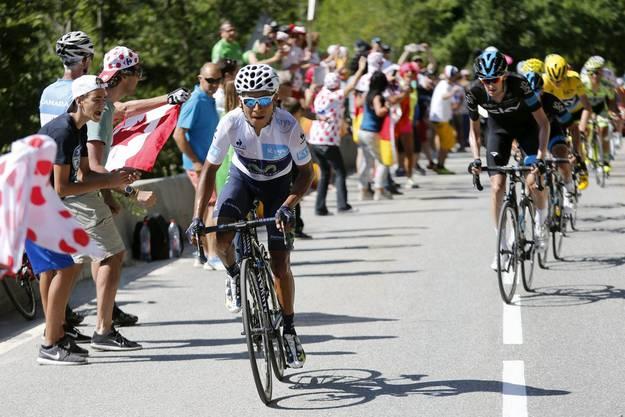 Nairo Quintana versuchte in der Etappe auf die Alpe d'Huez vergeblich, das gelbe Trikot von Froome zu erobern