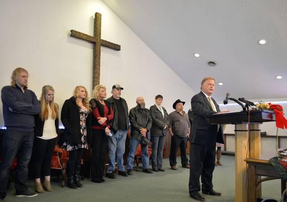 Johnson bei der Medienkonferenz in seiner Kirche.
