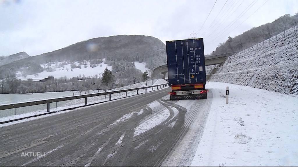 Ein paar Stunden Winter: Erster Schnee im Aargau