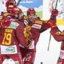 Die Tigers Harry Pesonen, Pascal Berger, Chris DiDomenico und Anthony Huguenin (von links) jubeln nach dem Tor zum 2:1