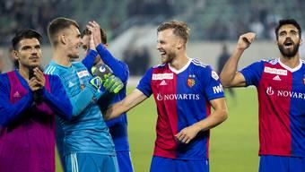 Freude beim FC Basel: die Partie gegen den FC St. Gallen konnten die Rotblauen für sich entscheiden.