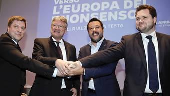 """Lega-Chef Matteo Salvini, (2.v.r.), AfD-Chef Jörg Meuthen (2.v.l.), Olli Kotro, Chef der Partei """"Die Finnen"""" (l.) und Anders Vistisen, Chef der """"Dansk Folkeparti"""", präsentieren eine rechtspopulistische Wahlallianz für die Europawahlen."""