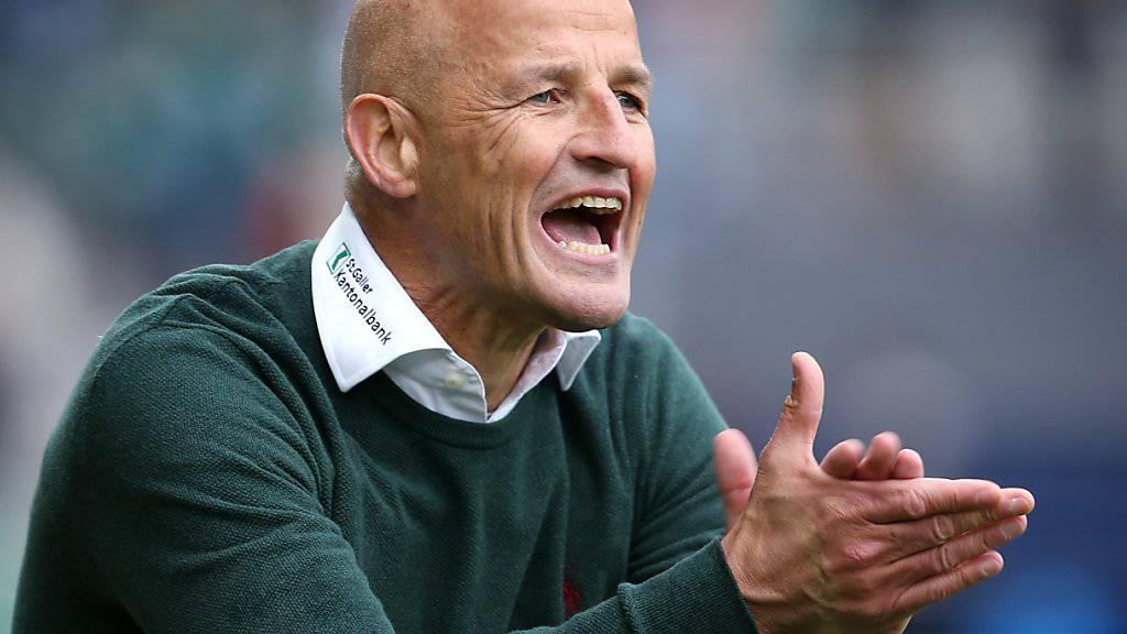 St.Gallens Trainer Peter Zeidler könnte mit zwei Siegen vielleicht den dritten Platz erkämpfen. Aber der erste Gegner heisst YB.