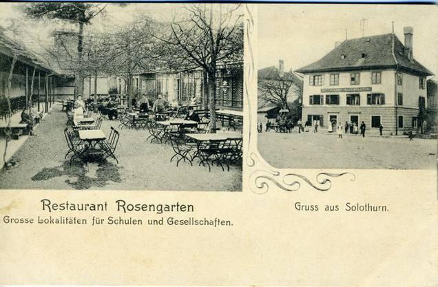 Das Restaurant Rosengarten auf einer Postkarte
