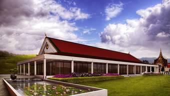 Der Teich ist bei buddhistischen Bauten ein Muss. So wird auch zwischen der Versammlungshalle und dem Schulungs- sowie Unterkunftsgebäude einer angelegt.