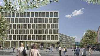 Herzstück des Fachhochschul-Campus: Die neue Fachhochschule Markthalle. (Visualisierung: HRS)
