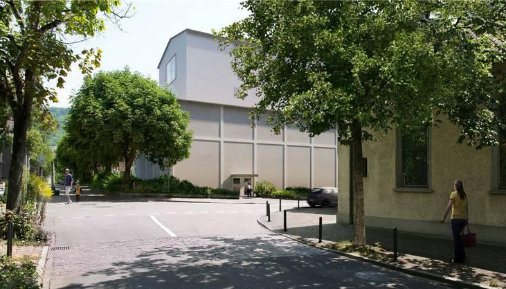 So soll sich die neue Hinterbühne des Kurtheaters präsentieren – Blick in die Römerstrasse.