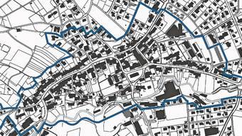 Der Bearbeitungsperimeter entspricht in etwa der Dorfkernzone gemäss Zonenplan. Situativ wurde der Perimeter an die örtlichen Gegebenheiten angepasst.