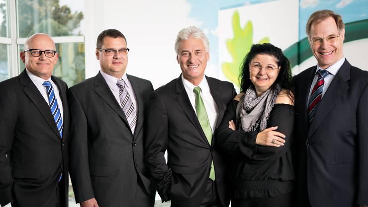So sieht der Gemeinderat Bergdietikon heute aus – doch nicht mehr lange (v.l.): Urs Emch (SVP), Ralf Dörig (FDP), Gerhart Isler (Gemeindeammann, Bürgerforum), Brigitte Diggelmann (parteilos) und Urs Vogel (SVP).
