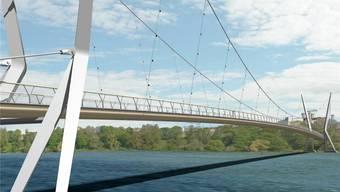 Die neue Visualisierung des Rheinstegs – mit den Verblendungen, welche die Vögel schützen sollen. Render-Manufaktur