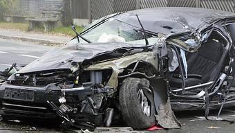 Zerstörtes Unfallfahrzeug von Haider
