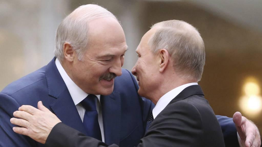Alexander Lukaschenko (l), Präsident von Belarus, begrüsst den russischen Präsidenten Wladimir Putin während des Gipfeltreffens des Kollektiven Sicherheitsrats der Organisation des Vertrags über kollektive Sicherheit. (Archivaufnahme)