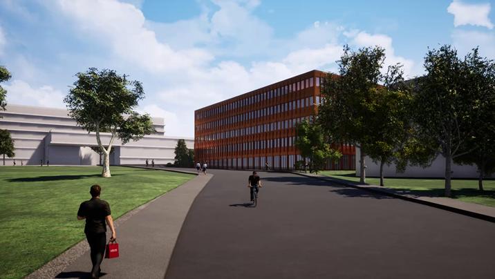Blick in die Zukunft: Der KSB Gesundheitscampus mit dem Partnerhaus II und dem Eingangsbereich des KSB-Neubaus (links).