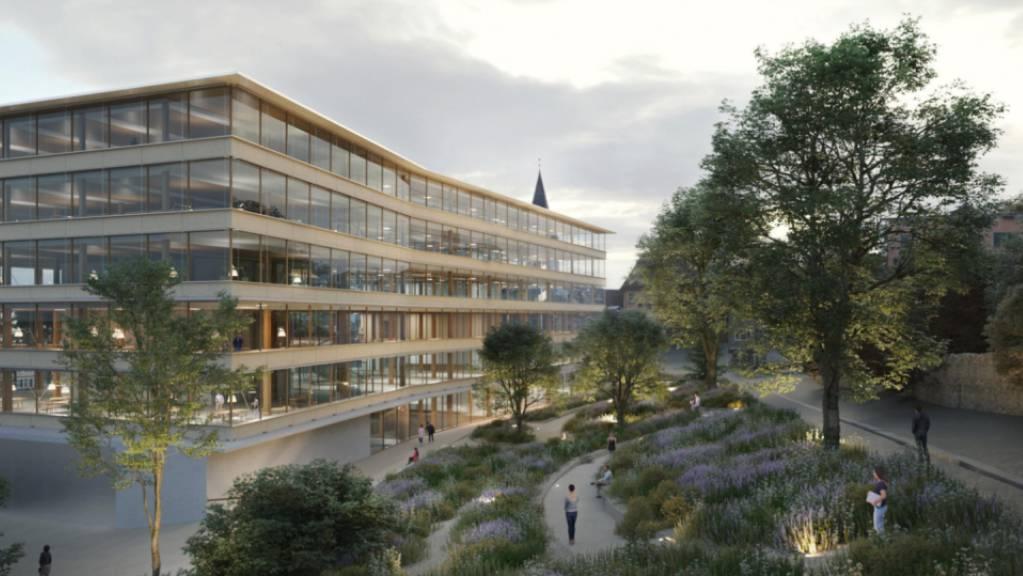 Visualisierung des geplanten neuen «Campus Platztor» der Universität St. Gallen (HSG). Der Entwurf stammt vom Architekten Pascal Flammer aus Zürich.