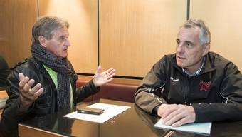 Red-Lions-Marketingstratege Albert Fässler (links) und Argovia-Sportchef Heinz Leuenberger sind sich in vielen Punkten nicht einig.